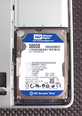 HDDを500GBに換装:MacBook Pro(Late 2008)。