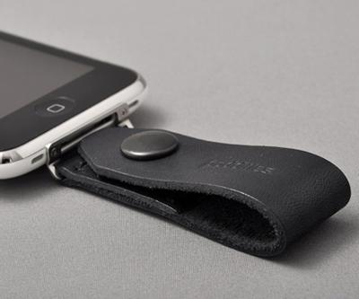 iPhone ループストラップ (黒レザー)